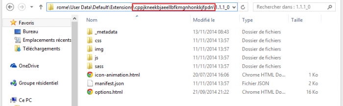 dossier code source extention
