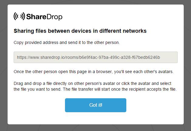 ShareDrop.io réseau publique